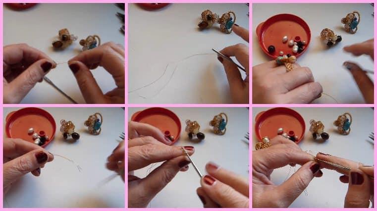 Anillos con Base Tejida con Engarce de Cristales Collage 1