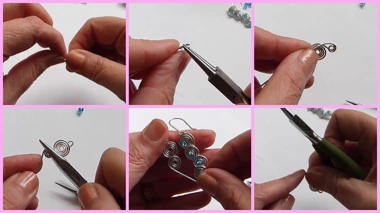 Aretes De Forma Espiral Con Alambre Y Cristales diy