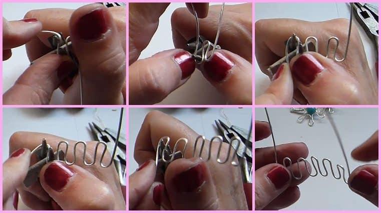 como hacer aretes en forma de flor con alambre paso a paso