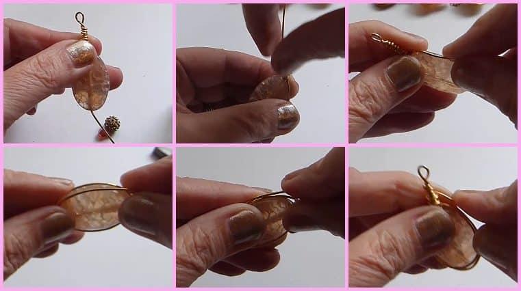 colgantes de alambre espiga técnica herringbone