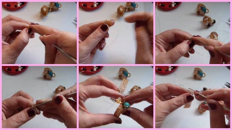 Anillos con Base Tejida con Engarce de Cristales collage 4