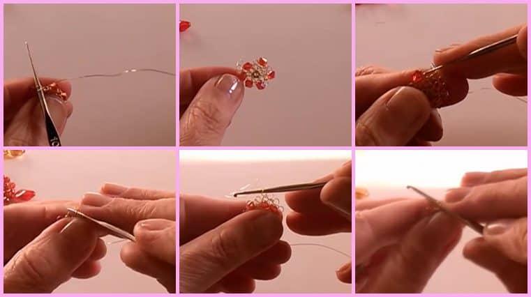 Pendientes con alambre y cristales con centro cerrado