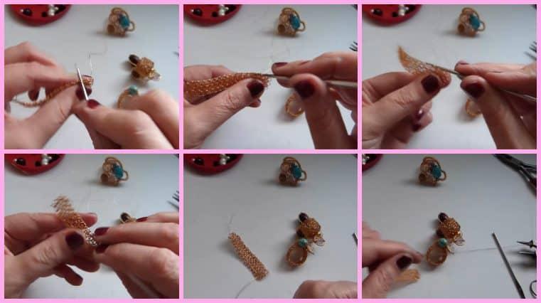 Anillos con Base Tejida con Engarce de Cristales collage 5