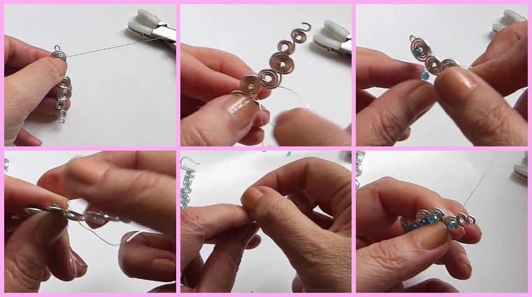Aretes De Forma Espiral Con Alambre Y Cristales hazlo tu misma
