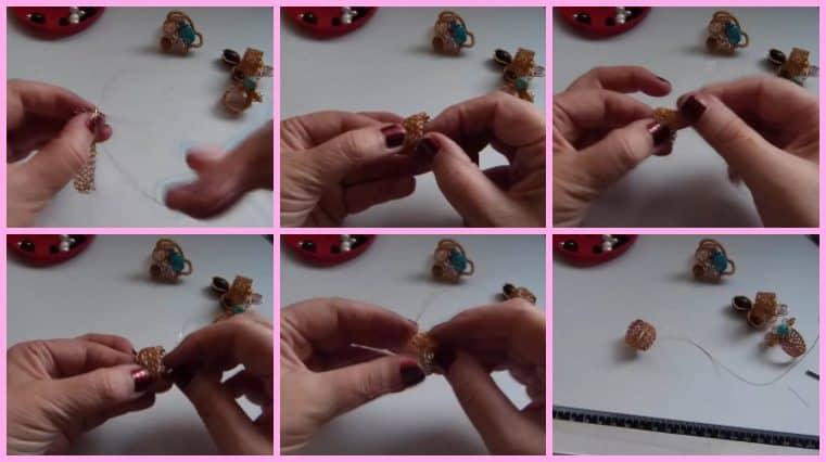 Anillos con Base Tejida con Engarce de Cristales collage 6