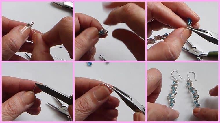 Aretes De Forma Espiral Con Alambre Y Cristales facil de hacer