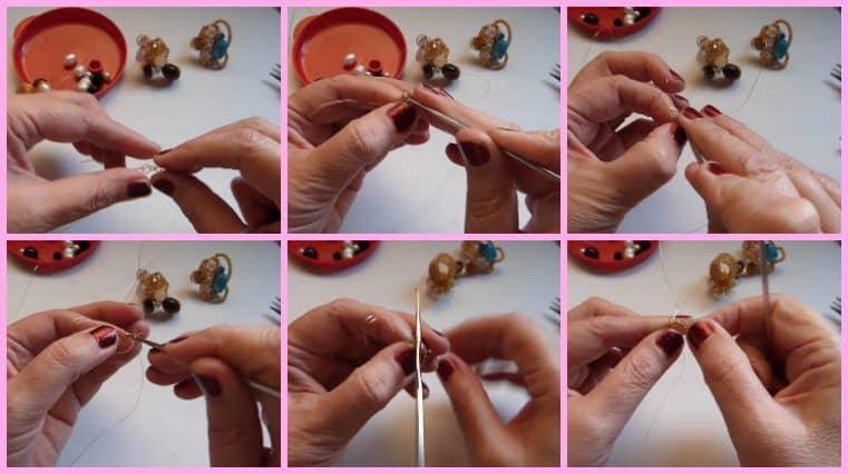 Anillos con Base Tejida con Engarce de Cristales collage 2