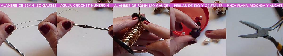 materiales anillos crochet con base tejida con engarce de cristales sobre alambre