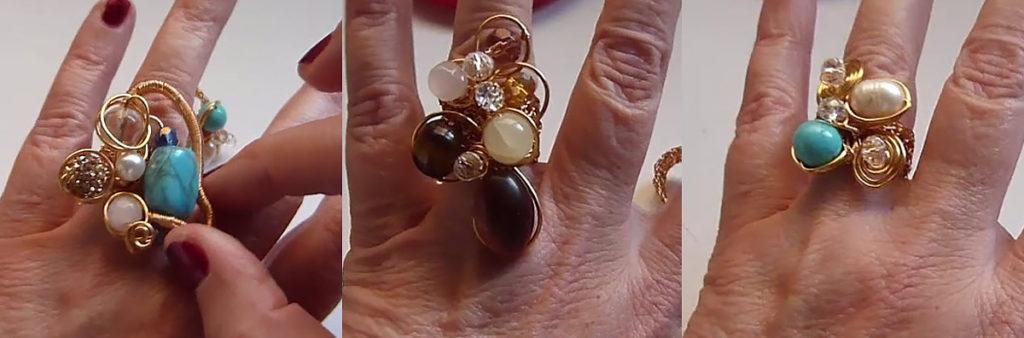 modelos de anillos crochet con base tejida con engarce de cristales sobre alambre