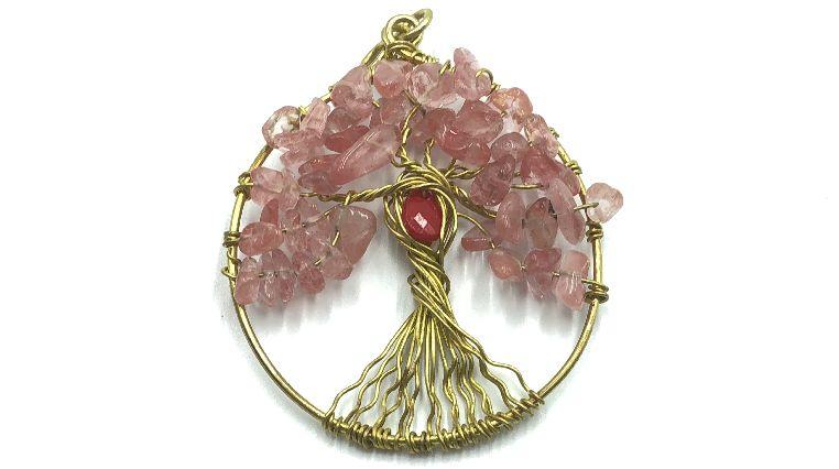 árbol de la vida con piedras rosadas