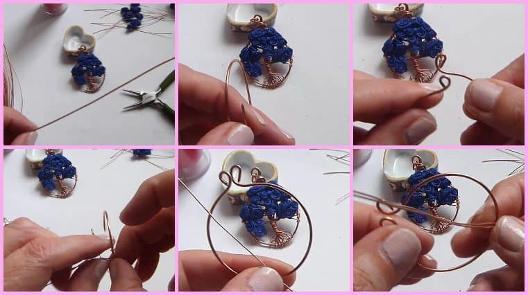 colgante árbol de la vida con flores azules