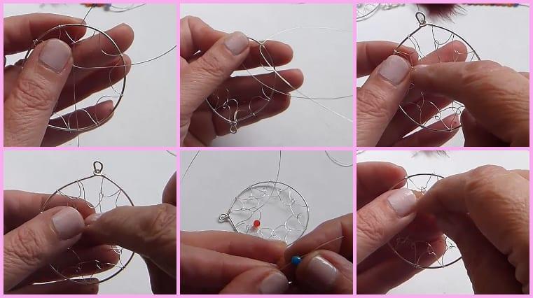 Cortamos 90 centímetros de alambre de 0.30 milímetros y sujetaremos este a uno de los extremos del alambre antes fabricado. A continuación haremos ondas internas con el alambre fino, sujetando cada una con 2 giros en su base, pasando el alambre fino en medio de la estructura inicial, de esta forma se crea la primera hilera para la red.