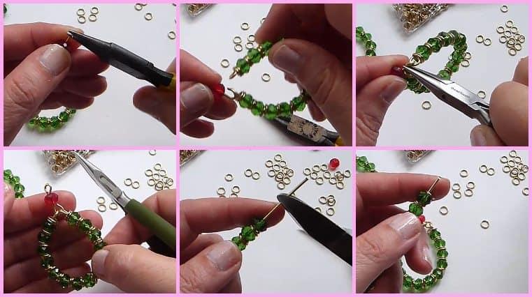 como hacer Aretes Navideños Con Alambre Y Cristales