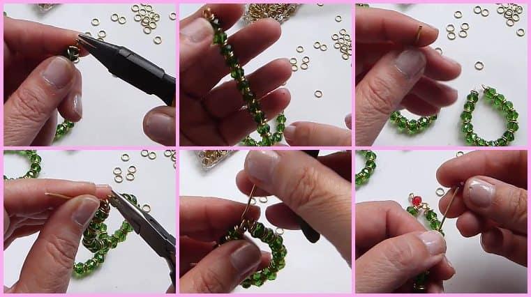 Aretes Navideños Con Alambre Y Cristales tutorial
