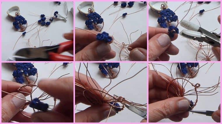 como hacer colgante árbol de la vida con flores azules