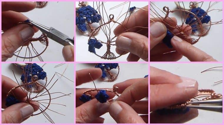 colgante árbol de la vida con flores azules hazlo tu misma