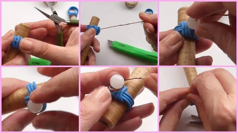 Anillos Con Cable Eléctrico Y Perla tutoriales de joyeria