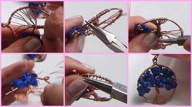 colgante árbol de la vida con flores azules tutoriales de joyeria