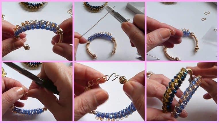 pulsera de alambre con cristales DIY