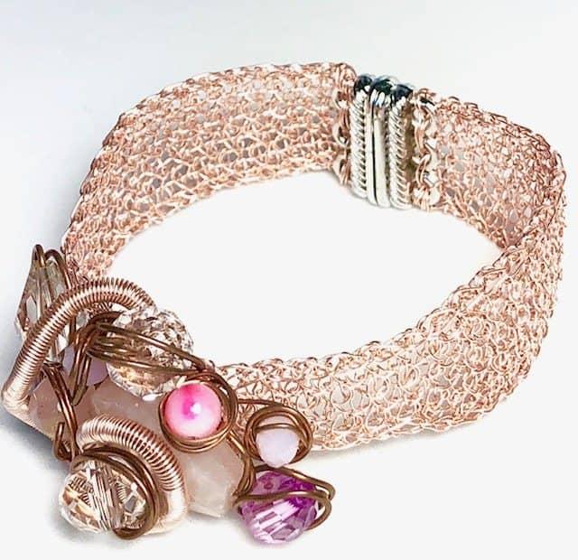 brazalete de oro rosa punto peruano
