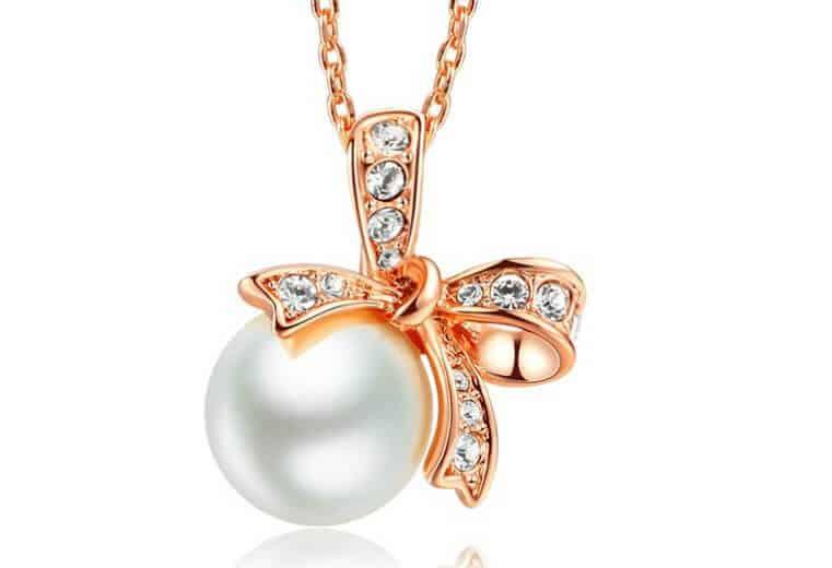 colgante oro rosa tendencias perla