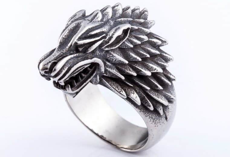 joyeria en game of thrones Direwolf anillo-min